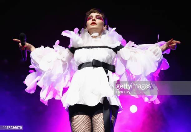 Lauren Mayberry of CHVRCHES performs at Mojave Tent during the 2019 Coachella Valley Music And Arts Festival on April 14, 2019 in Indio, California.