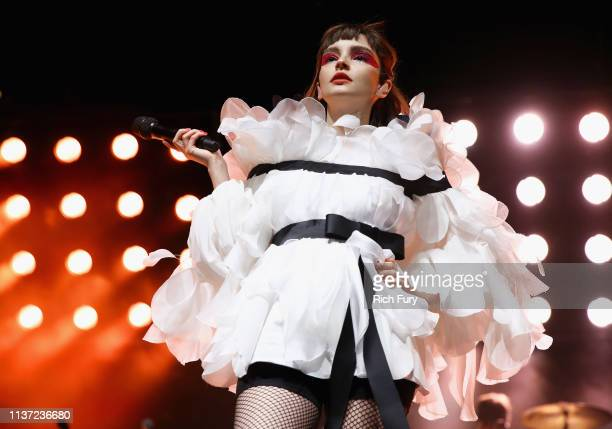 Lauren Mayberry of CHVRCHES performs at Mojave Tent during the 2019 Coachella Valley Music And Arts Festival on April 14 2019 in Indio California