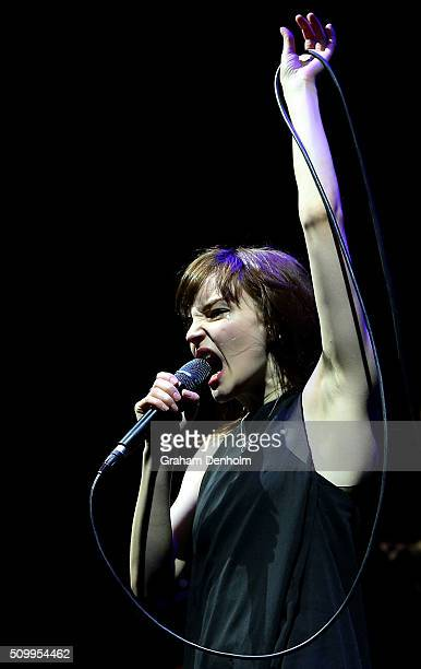 Lauren Mayberry of Chvrches performs at St Jerome's Laneway Festival on February 13 2016 in Melbourne Australia