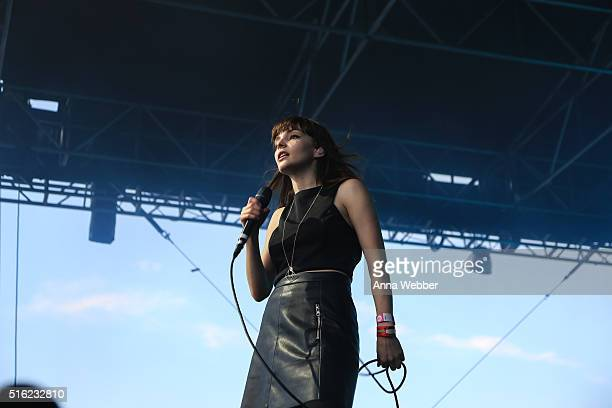 Lauren Mayberry of Chvrches performs at The Spotify House SXSW 2016 on March 17 2016 in Austin Texas