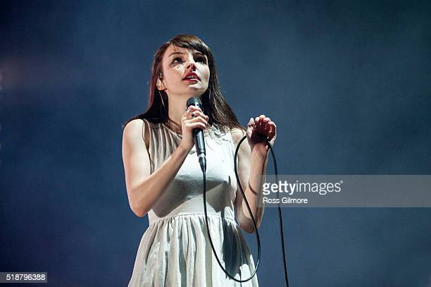 Lauren Mayberry of Chvrches performs at The SSE Hydro on April 2 2016 in Glasgow Scotland