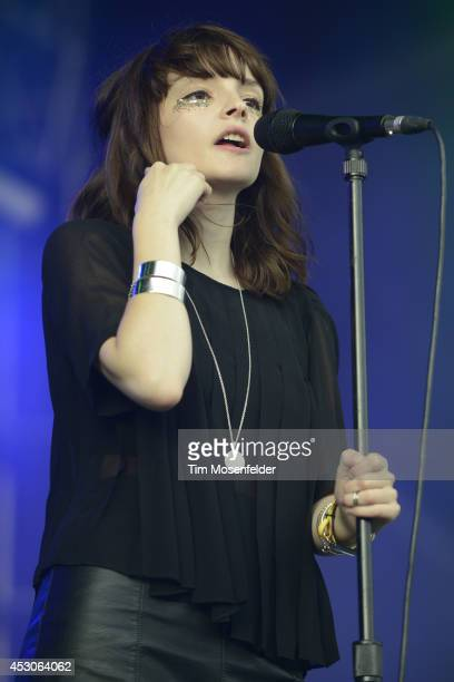 Lauren Mayberry of Chvrches performs during the 2014 Lollapalooza at Grant Park on August 1 2014 in Chicago Illinois