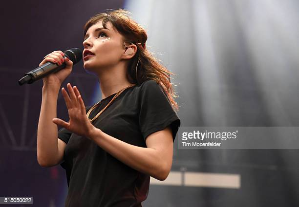 Lauren Mayberry of Chvrches performs during the 2016 Buku Music Arts Project Festival at Mardi Gras World on March 11 2016 in New Orleans Louisiana