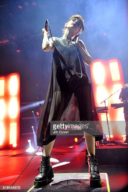 Lauren Mayberry of Chvrches performs live on stage at Royal Albert Hall on March 31 2016 in London England