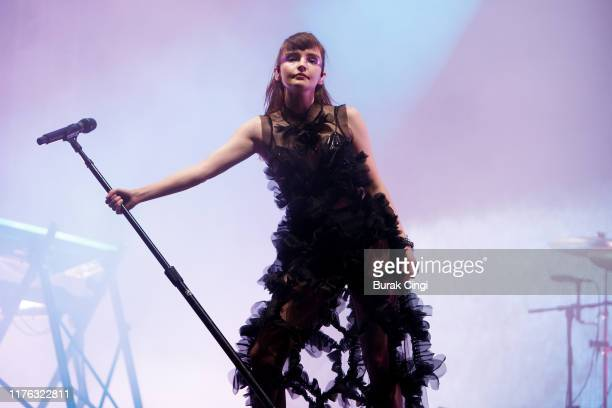 Lauren Mayberry of Chvrches performs live on the BBC Radio 1 stage during day three of Reading Festival 2019 at Richfield Avenue on August 25 2019 in...
