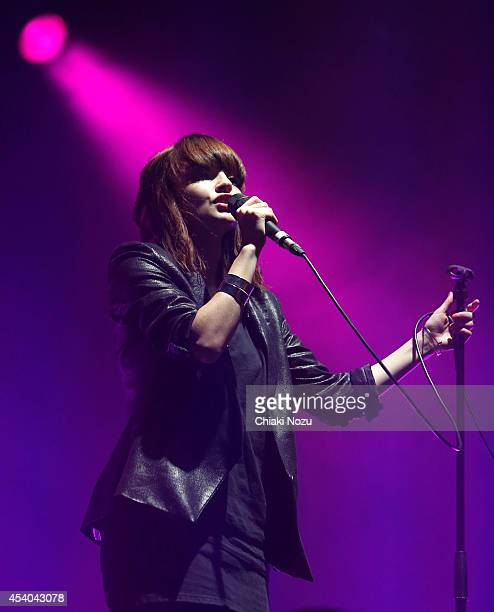 Lauren Mayberry of Chvrches performs on Day 2 of the Reading Festival at Richfield Avenue on August 23 2014 in Reading England