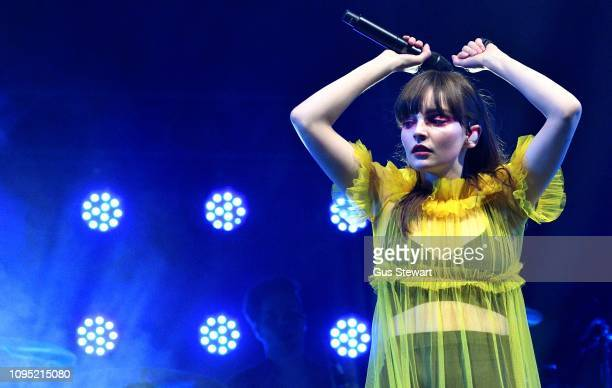 Lauren Mayberry of CHVRCHES performs on stage at Alexandra Palace on February 7 2019 in London England