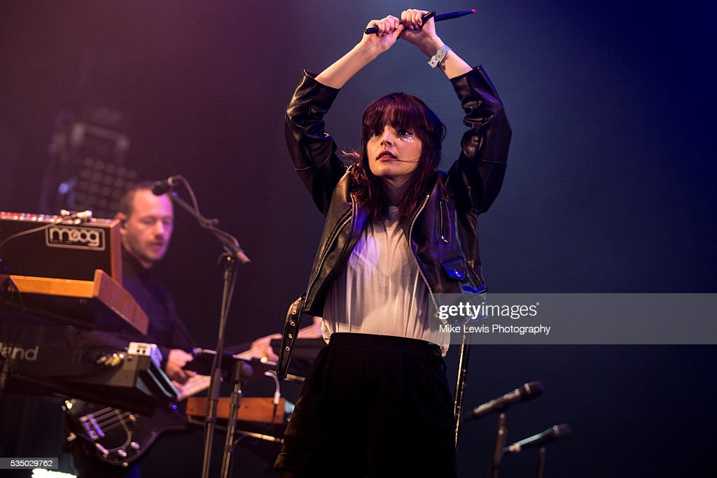 Lauren Mayberry of Chvrches performs on stage at Powderham Castle on May 28, 2016 in Exeter, England.