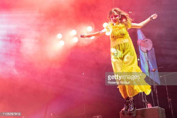Lauren Mayberry of CHVRCHES performs on stage at The SSE Hydro on February 16 2019 in Glasgow Scotland