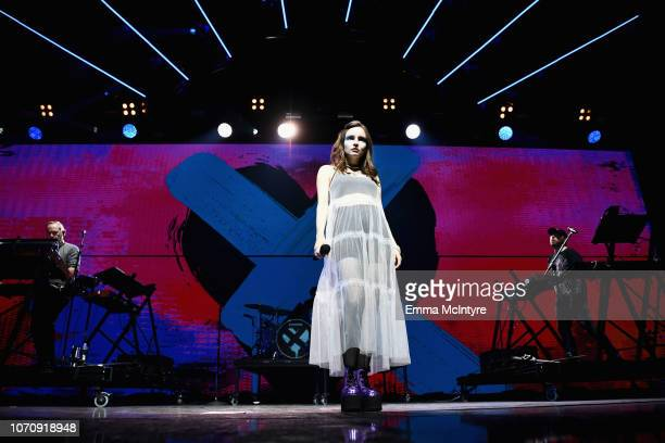 Lauren Mayberry of CHVRCHES performs on stage during KROQ Absolut Almost Acoustic Christmas at The Forum on December 9 2018 in Inglewood California