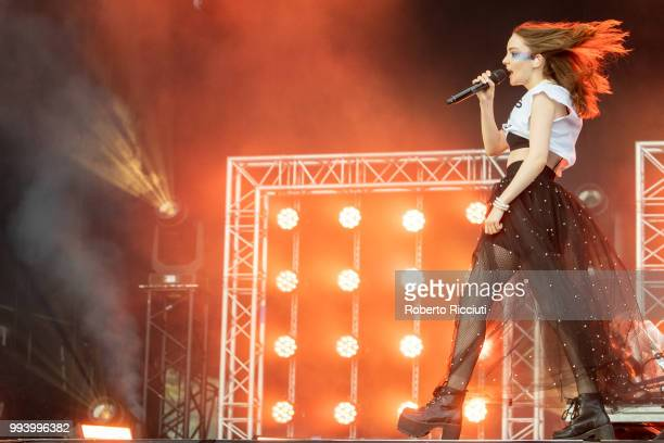 Lauren Mayberry of CHVRCHES performs on stage during TRNSMT Festival Day 5 at Glasgow Green on July 8 2018 in Glasgow Scotland