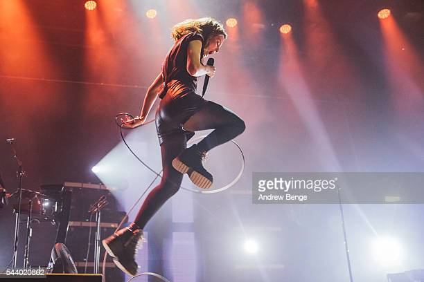 Lauren Mayberry of Chvrches performs on the Arena stage during Roskilde Festival 2016 on June 30, 2016 in Roskilde, Denmark.