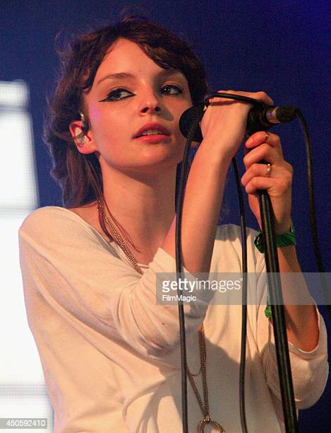 Lauren Mayberry of Chvrches performs onstage at The Other Tent during day 2 of the 2014 Bonnaroo Arts And Music Festival on June 13 2014 in...