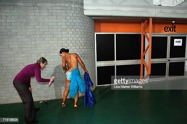 Lauren McFarlane fits her costume to compete in the 2006 FATD National Capital Dancesport Championships June 25 2006 in Canberra Australia Dancesport...