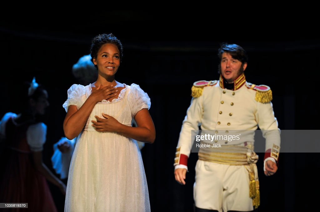 Lauren Michelle as Natasha and Jonathan McGovern as Andrei in Welsh National Opera's Production Of Prokofiev's War And Peace directed by David Pountney and conducted by Tomas Hanus at Wales Millennium Centre on September 11, 2018 in Cardiff, Wales.