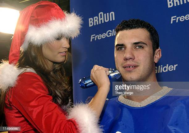Lauren Michelle Hill February 2003 Playmate giving a free shave Photo by Theo Wargo/WireImage for Porter Novelli