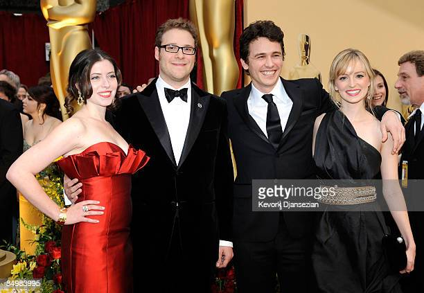 Lauren Miller actors Seth Rogen and James Franco and Ahna O'Reilly arrive at the 81st Annual Academy Awards held at Kodak Theatre on February 22 2009...