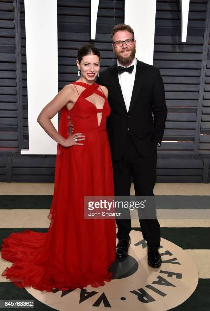 Lauren Miller and actor Seth Rogen attend the 2017 Vanity Fair Oscar Party hosted by Graydon Carter at Wallis Annenberg Center for the Performing...