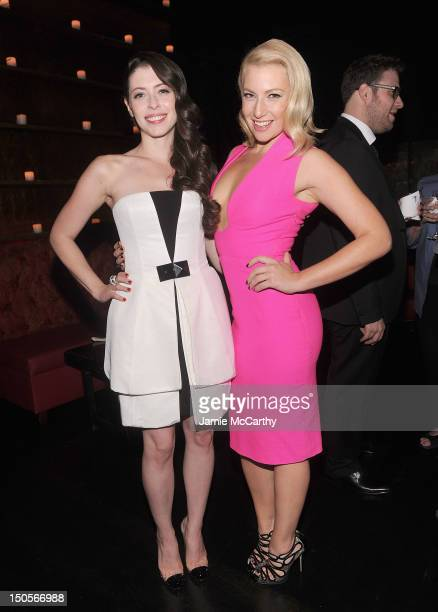 Lauren Miller and Ari Graynor attend the after party for the 'For A Good Time Call' premiere at Anja Bar on August 21 2012 in New York City