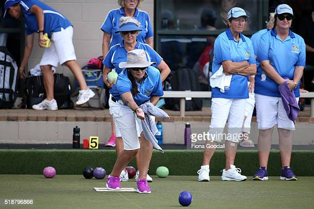 Lauren Mills of Northland competes in the fours final against Nelson during the Bowls New Zealand Intercentre at Howick Bowling Club on April 3 2016...