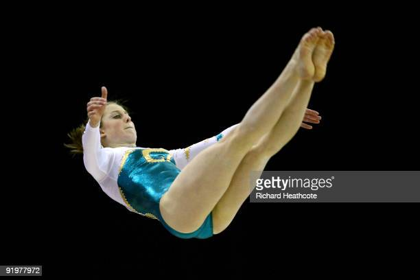 Lauren Mitchell of Australia competes in the floor exercise during the Apparatus Finals on the sixth day of the Artistic Gymnastics World...