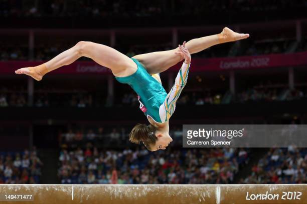 Lauren Mitchell of Australia competes on the beam in the Artistic Gymnastics Women's Team qualification on Day 2 of the London 2012 Olympic Games at...
