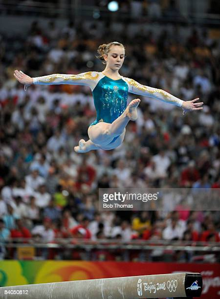 Lauren Mitchell of Australia on the beam during the artistic gymnastics team event at the National Indoor Stadium during Day 5 of the Beijing 2008...