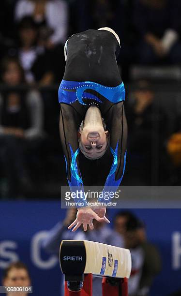 Lauren Mitchell of Australia performs at the balance beam during the EnBW Gymnastics Worldcup 2010 at the Porsche Arena on November 13 2010 in...