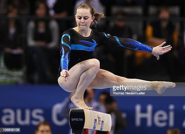 Lauren Mitchell of Australia performs at the floor during the EnBW Gymnastics Worldcup 2010 at the Porsche Arena on November 13 2010 in Stuttgart...