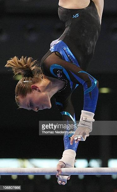 Lauren Mitchell of Australia performs at the uneven bars during the EnBW Gymnastics Worldcup 2010 at the Porsche Arena on November 13 2010 in...