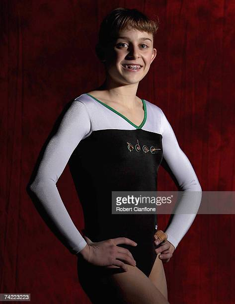 Lauren Mitchell poses during an Australian gymnastics team portrait session at Vodafone Arena on May 23 2007 in Melbourne Australia