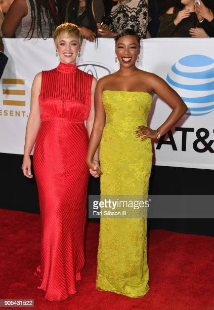 Lauren Morelli and Samira Wiley at the 49th NAACP Image Awards on January 15 2018 in Pasadena California
