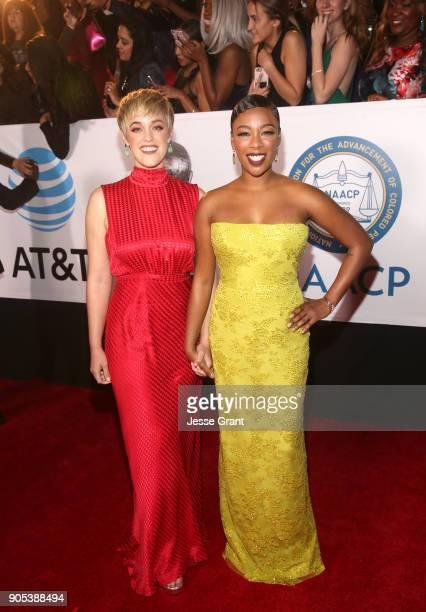 Lauren Morelli and Samira Wiley attend the 49th NAACP Image Awards at Pasadena Civic Auditorium on January 15 2018 in Pasadena California