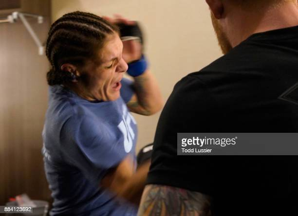 Lauren Murphy warms up prior to her bout against Barb Honchak during the TUF Finale event inside Park Theater on December 01 2017 in Las Vegas Nevada