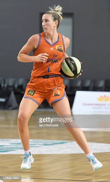 Lauren Nicholson of the Fire dribbles the ball during the round four WNBL match between the Townsville Fire and the University of Canberra Capitals...