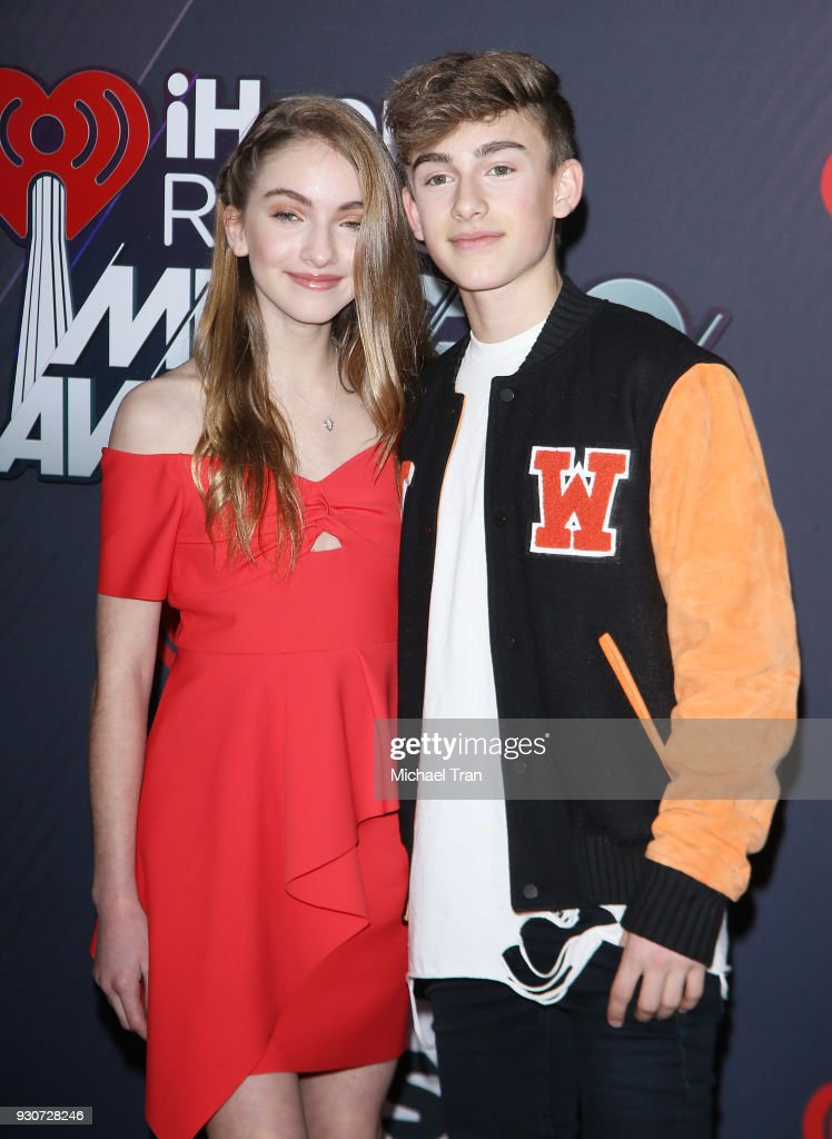 Lauren Orlando (L) and Johnny Orlando arrive to the 2018 iHeartRadio Music Awards held at The Forum on March 11, 2018 in Inglewood, California.