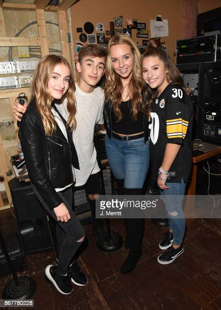 Lauren Orlando Johnny Orlando Kylee Renee Clark Mackenzie Ziegler pose back stage after their 'Day NIght' tour at Mr Smalls on October 28 2017 in...