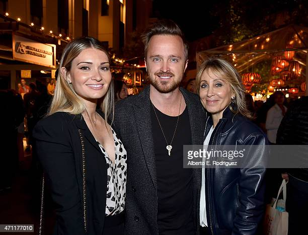 Lauren Parsekian actor Aaron Paul and cochair of 20th Century Fox Stacey Snider attend City Year Los Angeles Spring Break at Sony Studios on April 25...
