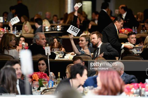 Lauren Parsekian and Aaron Paul at the 25th Annual Race To Erase MS Gala at The Beverly Hilton Hotel on April 20 2018 in Beverly Hills California