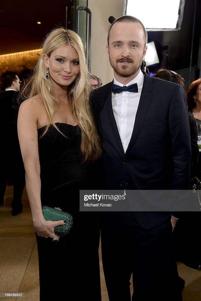 Lauren Parsekian and Aaron Paul attend Moet & Chandon At The 70th Annual Golden Globe Awards Red Carpet at The Beverly Hilton Hotel on January 13, 2013 in Beverly Hills, California.