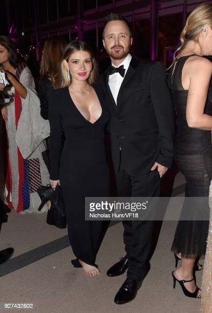 Lauren Parsekian and Aaron Paul attend the 2018 Vanity Fair Oscar Party hosted by Radhika Jones at Wallis Annenberg Center for the Performing Arts on...