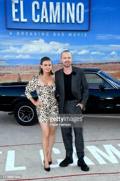 Lauren Parsekian and Aaron Paul attend the Premiere of Netflix's 'El Camino: A Breaking Bad Movie' at Regency Village Theatre on October 07, 2019 in...