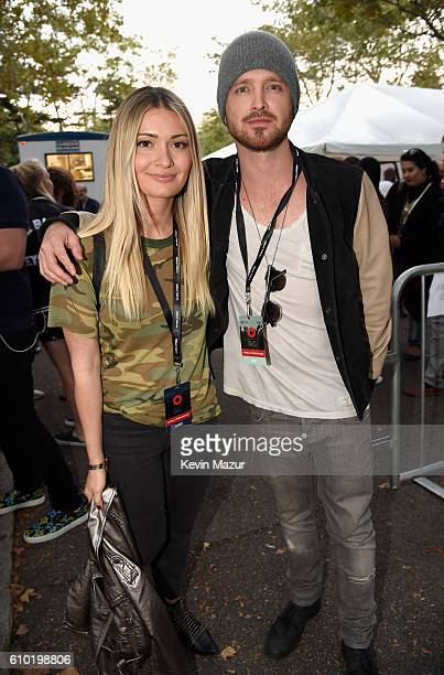 Lauren Parsekian and actor Aaron Paul attend the 2016 Global Citizen Festival In Central Park To End Extreme Poverty By 2030 at Central Park on...