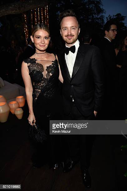Lauren Parsekian and actor Aaron Paul attend the launch of the Parker Institute for Cancer Immunotherapy an unprecedented collaboration between the...
