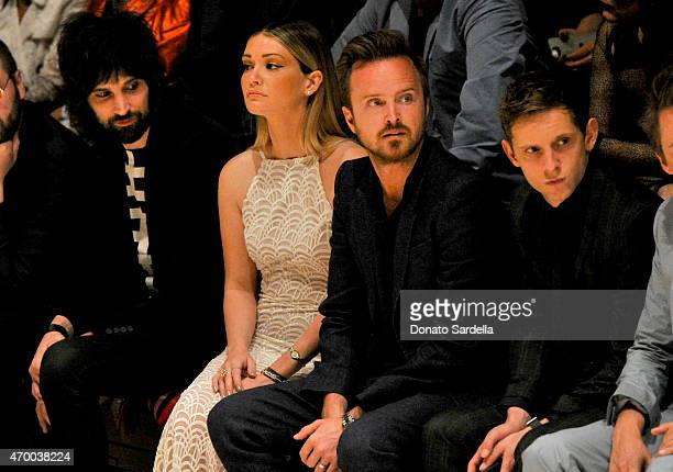 Lauren Parsekian and actors Aaron Paul and Jamie Bell attend the Burberry 'London in Los Angeles' event at Griffith Observatory on April 16 2015 in...