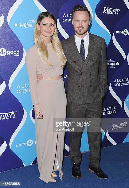 Lauren Parsekian and husband actor Aaron Paul arrive at the 2nd Annual Unite4humanity Event at The Beverly Hilton Hotel on February 19 2015 in...