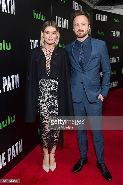 Lauren Paul and actor Aaron Paul attends the premiere of Hulu's 'The Path' Season 2 at Sundance Sunset Cinema on January 19 2017 in Los Angeles...