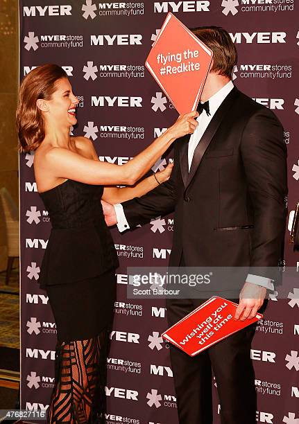 Lauren Phillips and Kris Smith arrive at the annual Precious Metal Ball to benefit Redkite at the Palladium at Crown Melbourne on June 12 2015 in...