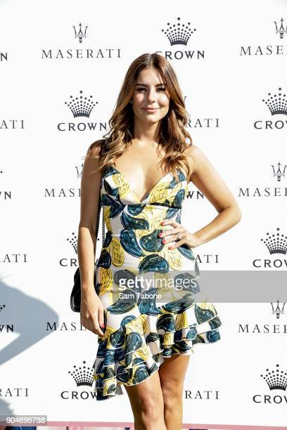 Lauren Phillips arrives ahead of the 2018 Crown IMG Tennis Player at Crown Palladium on January 14 2018 in Melbourne Australia