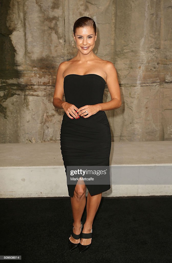 Lauren Phillips arrives ahead of the Myer AW16 Fashion Launch on February 11, 2016 in Sydney, Australia.